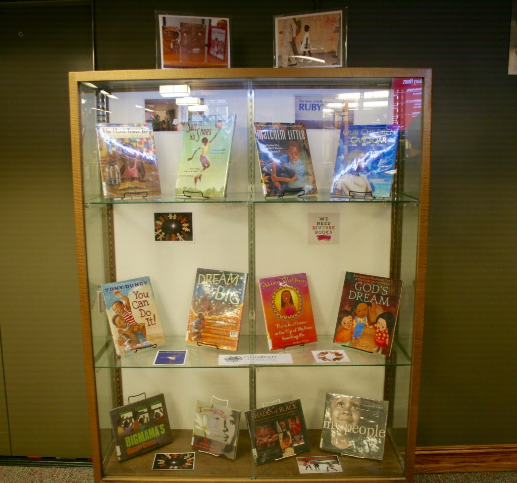 Black History Month Display 2016 featuring children's books by African American authors
