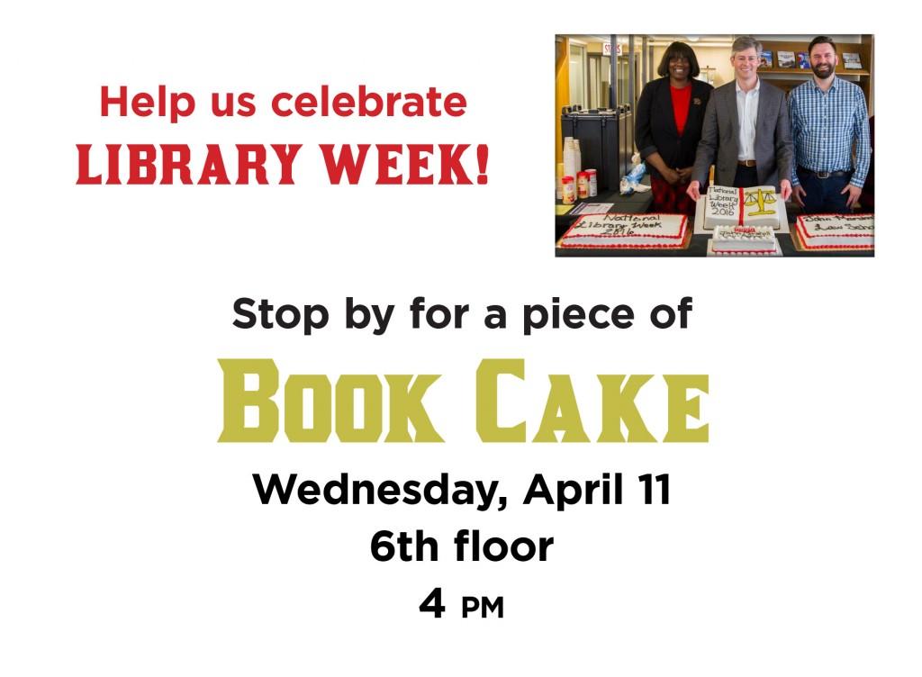 Library Week book cake monitor 2018